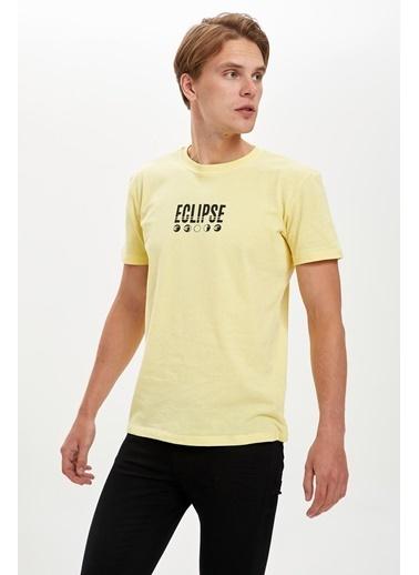 DeFacto Baskılı Bisiklet Yaka Regular Fit Tişört Sarı